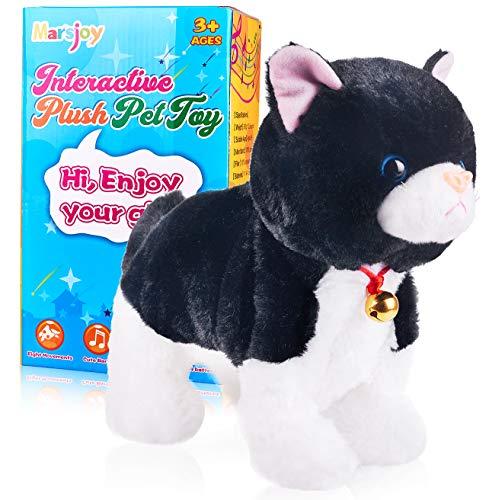 Black Plush Robot Cat Stuffed Animal Interactive Cat Robot Toy, Barking...