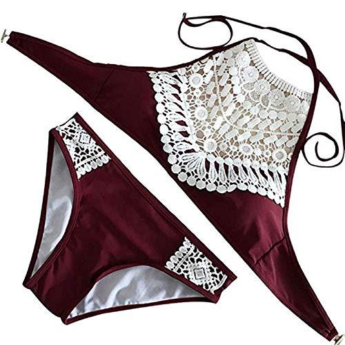 Summer Mae Damen Triangel-Neckholder-bikini Bikini-set Gehäkelt Bademode ,Weinrot ,XL