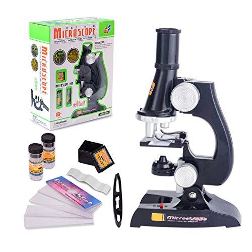 ALEENFOON Kinder Mikroskop, 100x 200x 450x Vergrößerung Wissenschaft Kinder Mikroskop Set mit LED Beleuchtung mit Zubehör Kit für Schüler Kinder