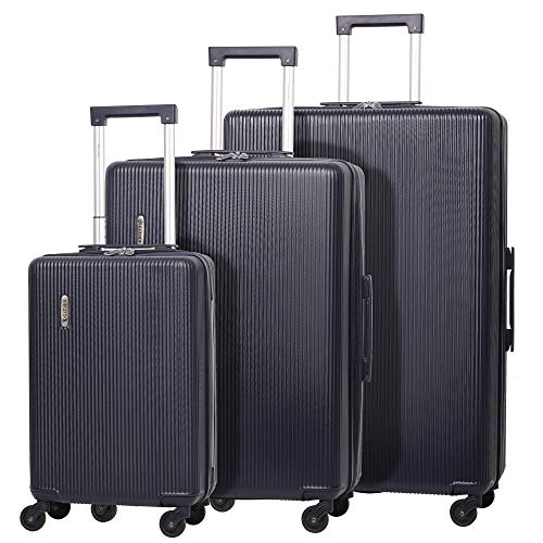 """5 Cities Lightweight ABS Hard Shell 3 Piece Luggage Suitcase Set with 4 Wheels, 21"""" Cabin + 25"""" Medium + 29"""" Large (Navy)"""