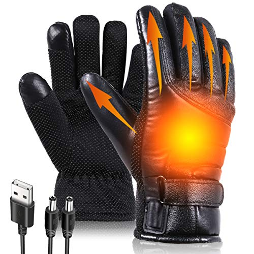 USB Heated Gloves, Heated Motorcycle Gloves for Men and Women, Hand Warmers, Windproof Waterproof Nonslip Leather Thermal Heating Gloves