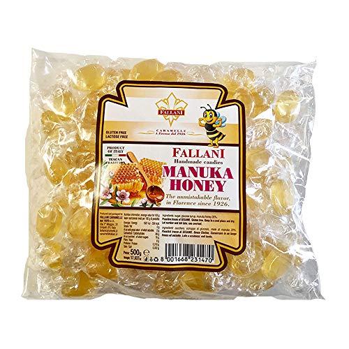 FALLANI SÜSSIGKEITEN Bio-Honigbonbons 500gr Bonbontüte Manuka-Honigbonbons, italienische Produktion, glutenfreie Produkte, Bio-Bonbons, Bonbons mit transparenter Verpackung