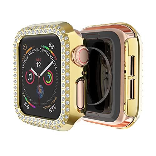 AISPORTS Compatible con Apple Watch Case de 42mm para Mujeres y Niñas,Estuche Rígido para PC Doble Hilera de Diamantes de Imitación de Diamantes de Cristal Funda Protectora para iWatch Series 3/2/1