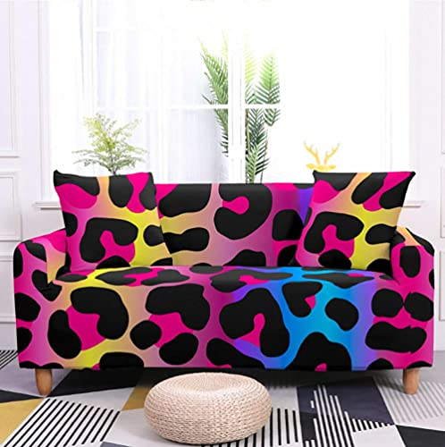 Sofa Cover Stretch Elastic Pink Blue Leopard Print Printed Sofa Slipcover 3 Seater Polyester Spandex Furniture Decorative Soft Loveseat Couch Covers Chair Protector for Pets Kids Sofa Covers