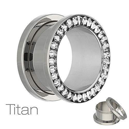 Treuheld® | 3mm Titan Kristall Ohr Flesh Tunnel | Silber mit klaren Glitzer - Zirkonia - Steinen | reines Titanium | Gewinde Schraubverschluss