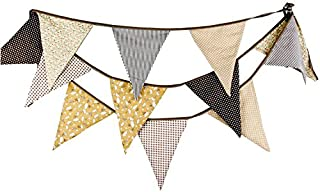 FirstKitchen Extra Large Bunting 12 Feet Flag Banner Pennant Garland Fabric Triangle Flags Double Sided Vintage Cloth Shabby Chic Decoration for Wedding Birthday Party Bedrooms (Light Tan Brown)