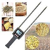Huanyu Multifunctional Fibre Moisture Meter 0-80% Probe Humidity Tester Water Content Analyzer for Measuring Hay Tea Corn Stalks Rice Straw Bran Soybean Meal Grains TK100