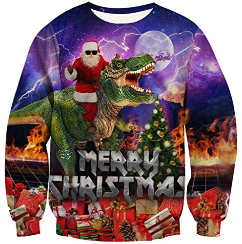 Goodstoworld Best Ugly Xmas Dinosaur Sweater Teen Junior Merry Christmas Sweatshirt Novelty Christmas Decorations Gifts Holiday Party Santa Claus Jumpers Pullover for Women Men