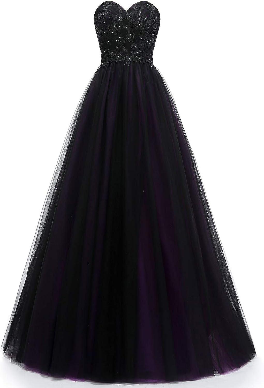 VKBRIDAL Women's Beaded Sweetheart Ball Gown Prom Dresses Long Black Tulle Formal Party Dress