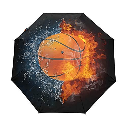 RXYY - Paraguas de baloncesto deportivo plegable con cierre automático para mujeres, hombres, niños, niñas, resistente al viento, compacto, de viaje, ligero, paraguas de lluvia