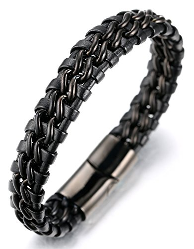 Halukakah  Honra  Pulsera Hombre Cuero Genuina Doble Cadena Titanio Acero Inoxidable Negro Cierre Magnético 8.46'(21.5cm) con CajaDeRegaloGRATIS
