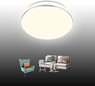 Tomosu 18W Plafonnier LED Rond Ultra Plat Lampes de Plafond, 1350LM Blanc Naturel 4000K, Φ28 x 7cm Luminaire Intérieur éta...