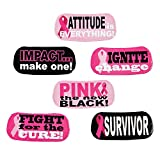 Pink Ribbon Face Tattoos (72 pieces) Breast Cancer Awareness, Survivor, Pink Is The New Black, Fundraiser, Eye-Black Tattoos, (6 sheets of 12 tattoos)