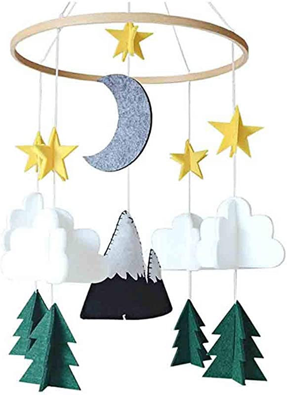 Decoration Felt Woodland Crib Ornament Room Woodland Night Hanging Gift Ornamenies Along Meadow Soothe Groove Infant Stim Cribs Stars Ceiling Room Hanging Great For Shower Heart Garland Handmade Gift