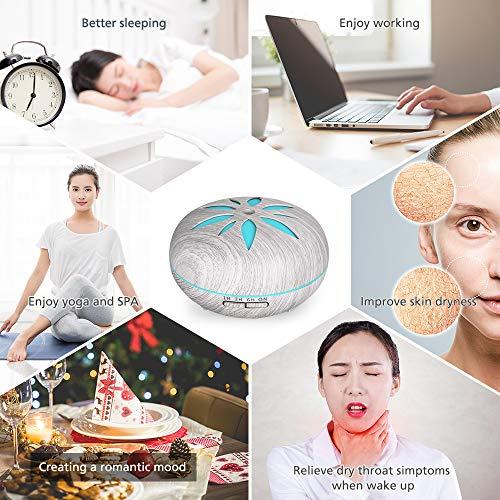 Diffusore di Oli Essenziali 550 ML, GeeRic Ultrasuoni Umidificatore Diffusore di Aroma Diffusori Oli Profumati Nebulizzator per Oli Essenziali Silenzioso 7 Colori LED per Yoga Regalo Grigio