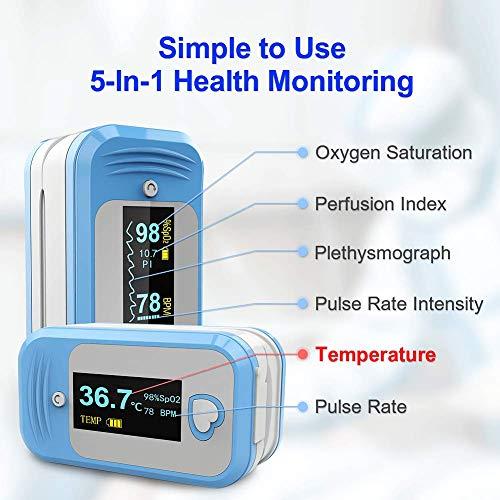 saturimetro da dito professionale certificato, MED LINKET AM801 pulsossimetro da dito, frequenza cardiaca, temperatura, indice perfusione, certificato ce