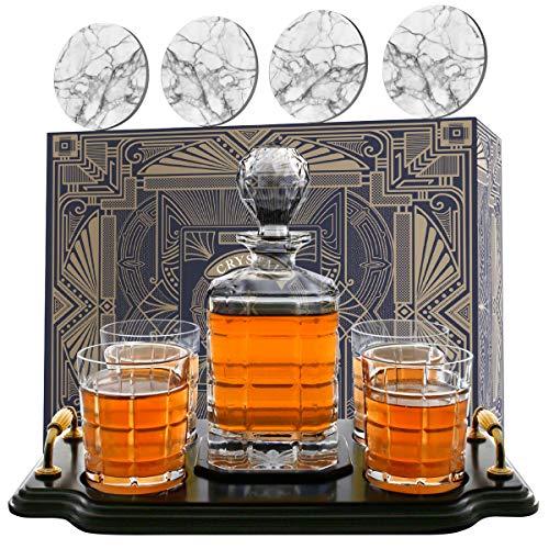 Krown Kitchen - Whisky Karaffe Set. Enthält Whiskey-Gläser, Untersetzer und Holzplatte. Perfekte Vater-Geschenke. Für Bourbon, Scotch, Schnaps usw. 860ml Kapazität
