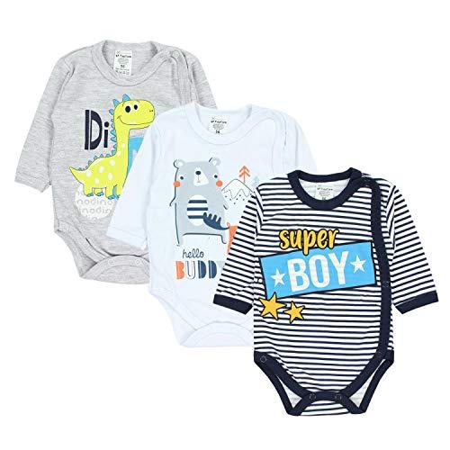TupTam Baby Jungen Wickelbody Langarm Print Spruch 3er Set, Farbe: Farbenmix 1, Größe: 74