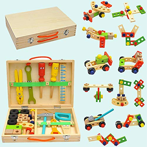 crazerop Holz Werkzeugkoffer Werkzeugkasten Zubehör Set, Holzwerkzeug Werkbank Pretend Play Kit Spielzeug...