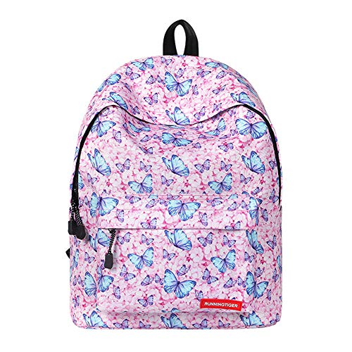 HAIHF kinderrugzak, schooltas rugzak voor meisjes vlinder en schat patroon reizen sport schoudertas dagelijks gebruik en outdoor-activiteiten, roze