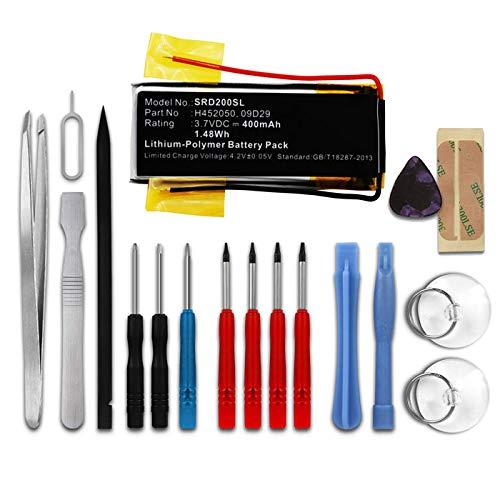 subtel® Qualitäts Akku kompatibel mit Cardo Scala Rider Teamset Pro, Scala Rider Multiset Q2, 09D29,H452050,BAT00008 400mAh + Werkzeug-Set Ersatzakku Batterie