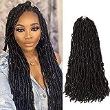 Nu Faux Locs 24 Inch Crochet Hair Knotless Style Most Natural Crochet Braids 6 Packs/lot 100% Premium Fiber Synthetic Hair Extensions (24'' 6Pcs 1B)