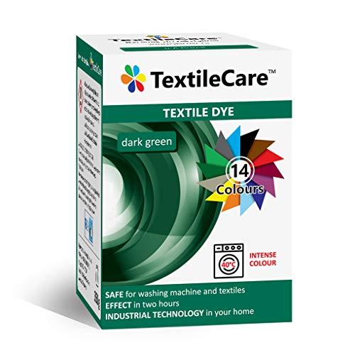 TextileCare Tinte para ropa y textil, 350 g de tinte para ropa de 600 g, 14 colores (verde oscuro)