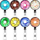 8 Pieces Donut Badge Reel Donut Retractable Badge Clip Nurse Name ID Card Holder with Belt Clip and 24 Inch Nylon Cord for Nurse Teacher Student Volunteer Office Employee
