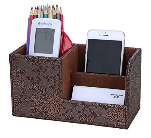 LiLan Büro Schreibtisch Organizer Ordnungssystem 3 Speicherabteil PU Leder Stiftebox Stifteköcher Bürobedarf (Retro Flower)
