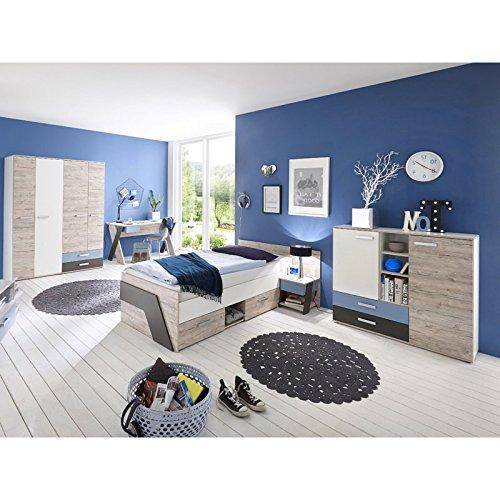 Jugendzimmer LEEDS-10 Komplett Set 5-teilig in Sandeiche Nb. / weiß/Lava/Denim - Made in Germany