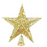 Kylewo Topper del árbol de la Estrella, Top del árbol de Navidad, Adorno del árbol de Navidad Top Star, Adornos del Topper del árbol de Navidad en luz cálida