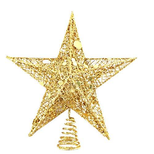 sdgfd Weihnachtsbaumspitze, Weihnachtsbaum Christbaumspitze Stern–Gold Glitzer Metall Baum Stern Großartiges Design