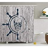 Yeuss Nautische Duschvorhang, Marine Thema Digitalbild Schädel Helm Ocean inspiriert Vintage Muster,Stoff Badezimmer Dekor Set mit Haken,Petrol blau blass grau 72'x80'