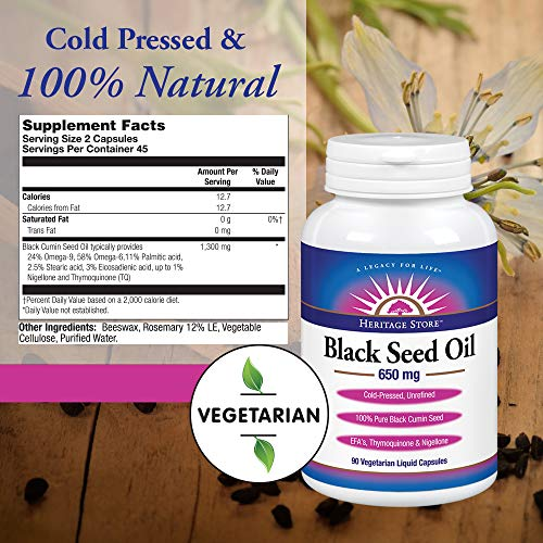 Heritage Store Black Seed Oil 650 Mg, 90 Count