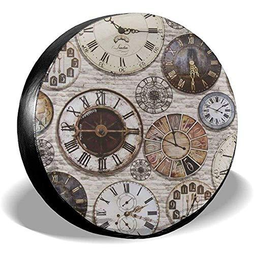 Drew Tours Vintage Antiquitäten Steampunk-Uhren Ersatzreifenabdeckung Staubdichte wasserdichte Radkappen für SUV RV Truck Travel Trailer Zubehör 15inch