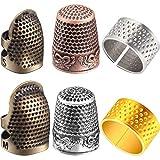 6 Piezas de Dedal de Costura Protector de Dedos Dedal de Punta de Dedo Protector de Escudo de Dedo Ajustable de Metal para Costura Bordado Cosido Trabajo a Mano Retro