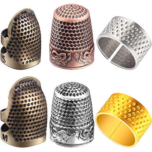 WILLBOND 6 Stück Nähen Fingerhut Fingerschutz Fingerspitze Fingerhut Einstellbare Finger Metall Schild Schutz zum Nähen Stickerei Handarbeit Retro Handarbeit