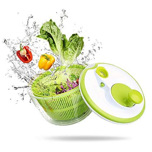 Angeer - Spillone per insalata grande, multifunzione, design senza BPA, con manovella manuale e bloccaggio, per frutta e verdura, asciugacapelli, asciugare e scolare, lattuga