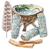 Home Cleansing & Smudging Kit with 3 White Sage, 2 Palo Santo, Abalone & Stand, Smudge Feather & Guide (Deluxe)
