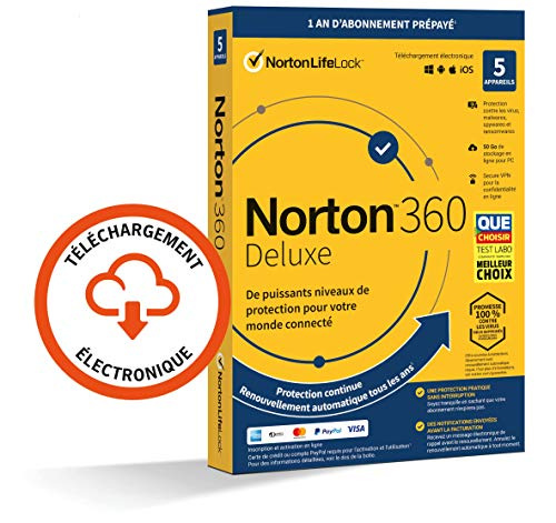 Norton 360 Deluxe 2021 | 5 Appareils | Antivirus, Sécurité Internet, Gestion Mots de Passe, Protection Webcam, Contrôle Parental, VPN, 50 GO Stockage Cloud  | 1 An | PC/Mac/Android/iOS