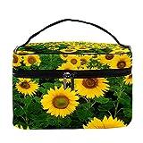 Bolsa de maquillaje con diseño floral de girasoles para viajes, bolsa de maquillaje, organizador con cremallera, para mujeres y niñas, Patrón floral de girasoles, 22.5x15x13.8 cm/8.9x5.9x5.4 inch,