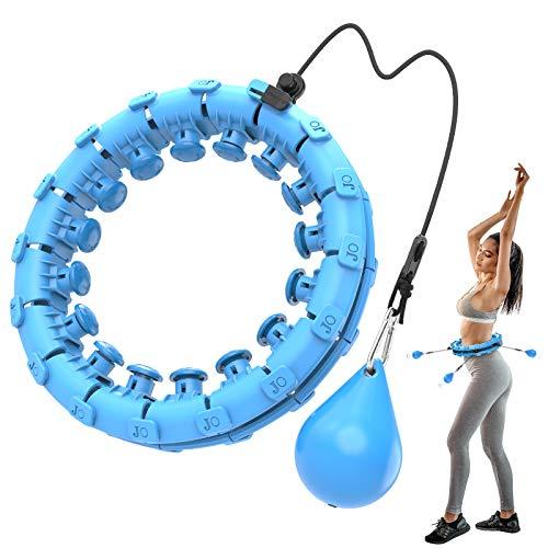 Bluefire Aro de Hula Inteligente,24 Secciones Hula Hoops Fitness Masaje para Adultos y Niños, Hu-la Hoop Artefacto de Pérdida de Peso, Ajustable, Desmontable y No Se Cae (Azul)