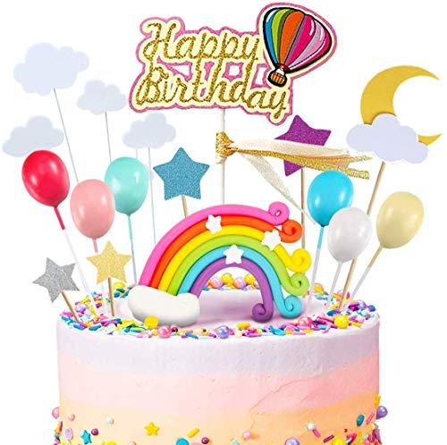 iZoeL 21 Stück Tortendeko Regenbogen Geburtstagskuchen Happy Birthday Topper Luftballon Wolke Sterne für Kinder Mädchen Frauen (ohne Ballon)