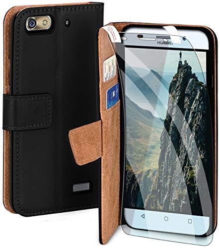 moex Handyhülle für Huawei G Play Mini - Hülle mit Kartenfach, Geldfach & Ständer, Klapphülle, PU Leder Book Hülle & Schutzfolie - Schwarz