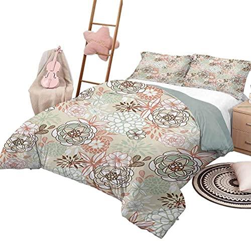 Juego de edredón para sofá cama Floral Suave para todas las estaciones Colcha de mezcla de algodón Vintage Shabby Chic Ramas Estilo cabaña Campanillas florecientes Pansy Tema rural Tamaño completo Mul