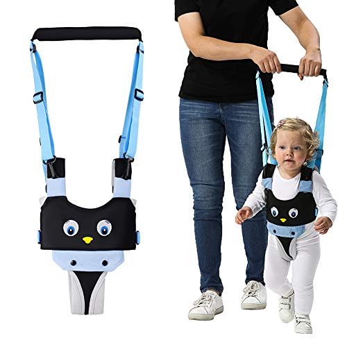 Handheld Baby Walking Harness for Kids, Adjustable Toddler Walking Assistant with Detachable Crotch, Safe Standing & Walk Learning Helper for 8+ Months Baby (Blue-Penguin)