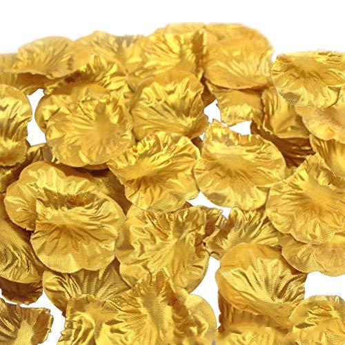 Winomo - Lot de 1000pétales de rose en tissu doré pour décoration de mariage