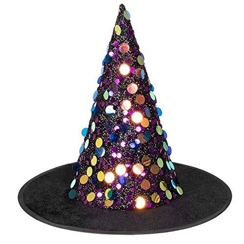 Boland 00909 Sequina - Sombrero de bruja con lentejuelas brillantes, bruja, mago, mago, disfraz, carnaval, fiesta temtica