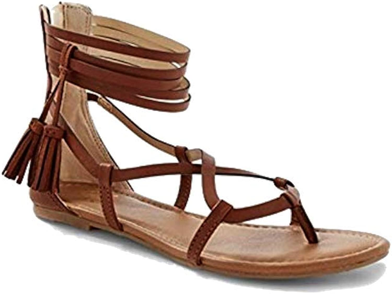 Justice Girls shoes Strappy Tassel Sandals Size 10 Brown