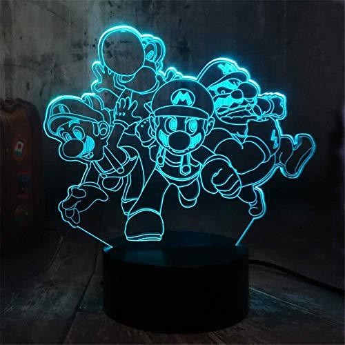 3D ilusión LED lámpara 3D noche luz Super Mario regulable control táctil brillo luz para decoración del hogar y regalos para amantes, padres, amigos, 16 colores